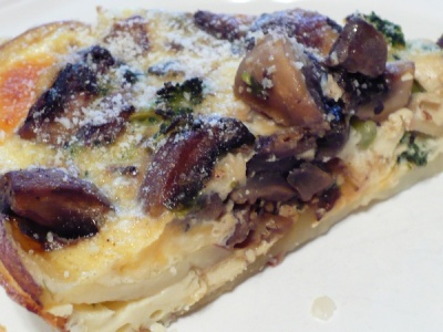 Slice of Mushroom & Broccoli Quiche with Gluten Free Potato Crust