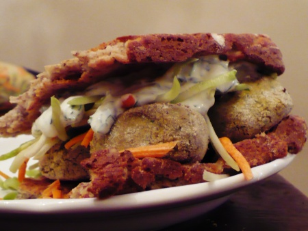 Falafel with Creamy Cilantro Dressing