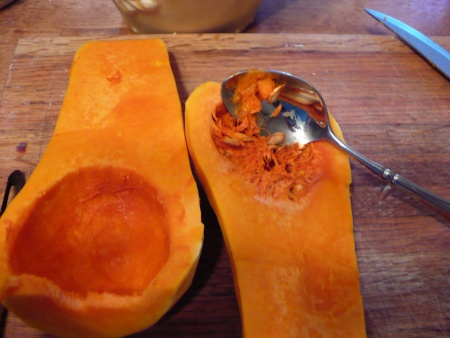 Scoop the seeds from the butternut squash
