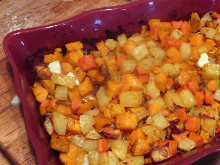Roasted Sweet Potatoes, Potatoes and Carrots