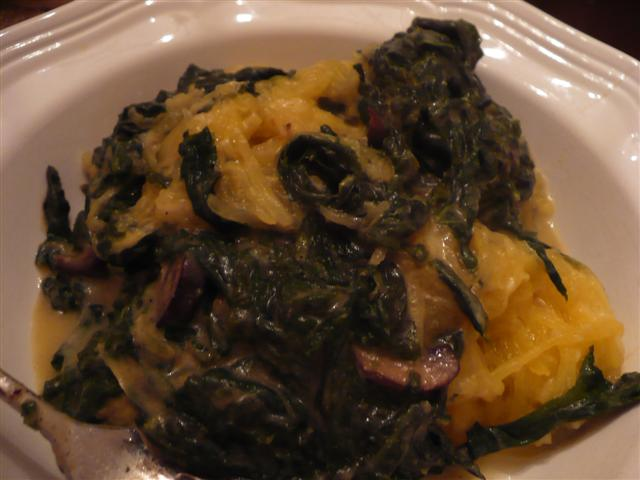 Spaghetti Squash with Creamed Mustard Greens