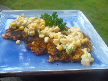 Gluten Free White Bean Crab Cakes with Savory Peach and Corn Salad